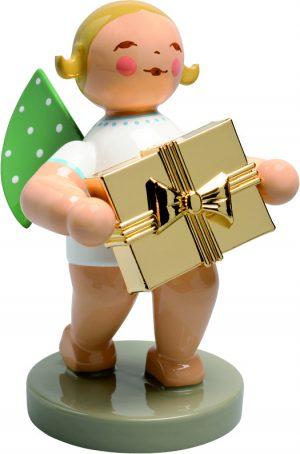 Goldedition Nr. 7, Gratulant, Engel mit Geschenk, vergoldet