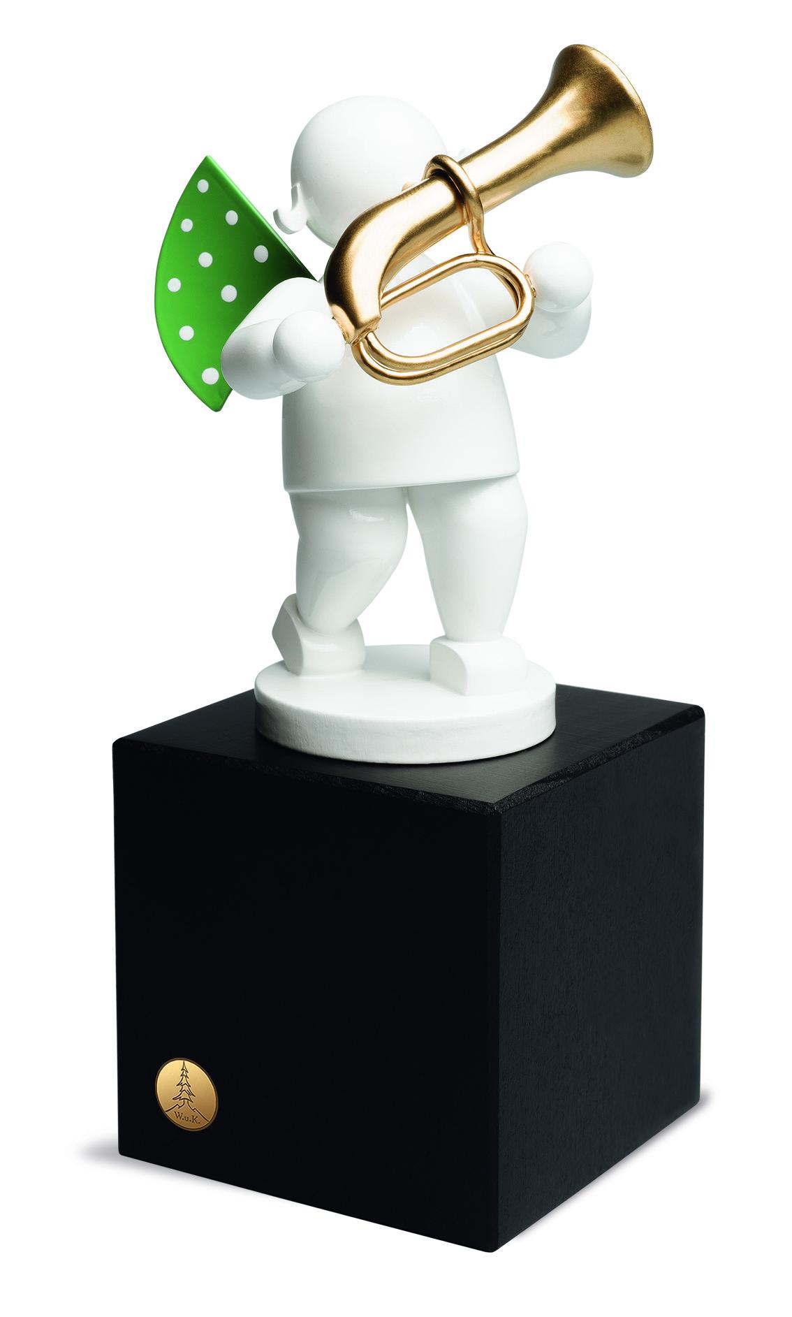 Edition Klangfarbe weiß,Engel mit Basstrompete, auf mittlerem Sockel
