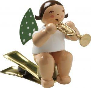 Engel mit Trompete, auf Klemme
